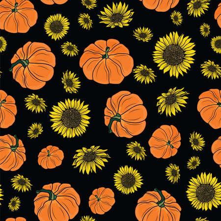 Thanksgiving doodle pumpkins, sunflower seamless pattern background design
