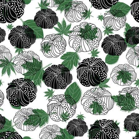 Thanksgiving line doodle pumpkins, fall leaf seamless pattern background design Иллюстрация