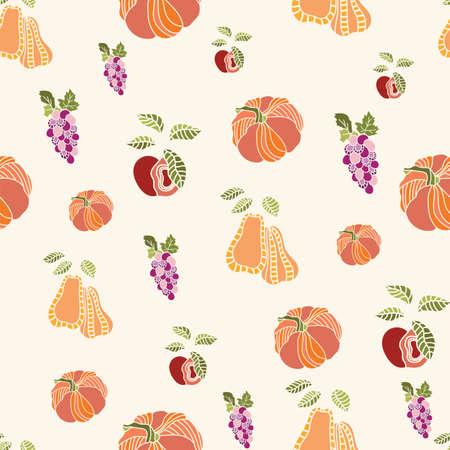 Thanksgiving abstract pumpkin, fruits seamless pattern background design.