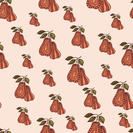 Pear fruit doodle abstract seamless pattern background design