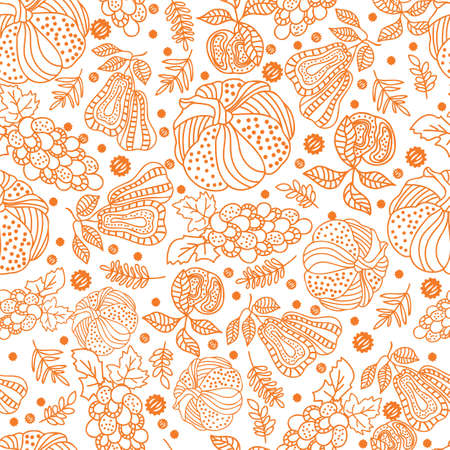 Thanksgiving line art doodle pumpkins, pear, apple, grape, leaf seamless pattern background design