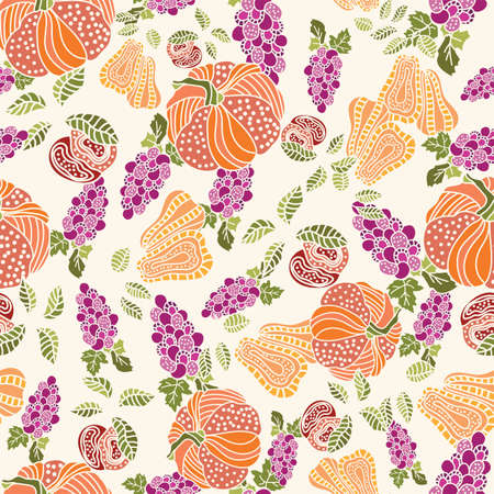 Thanksgiving pumpkin, fruits seamless pattern background design Иллюстрация