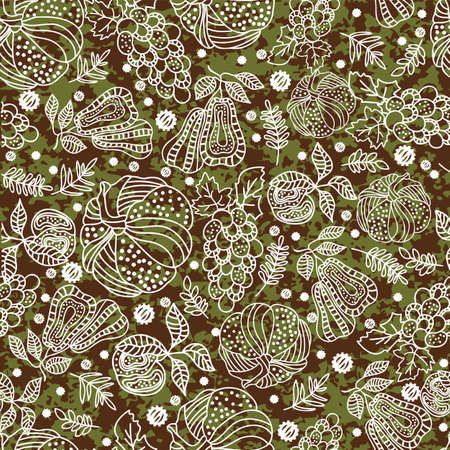 Thanksgiving line art pumpkins, pear, apple, grape, leaf seamless pattern on the grass background design Иллюстрация