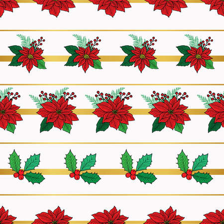 Seamless Christmas pattern with red poinsettia, holly, mistletoe and berries on the gold stripe background design