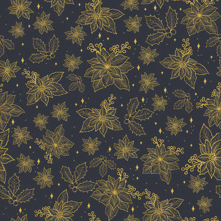 Seamless Christmas pattern with gold poinsettia, holly, mistletoe and berries on the dark background design