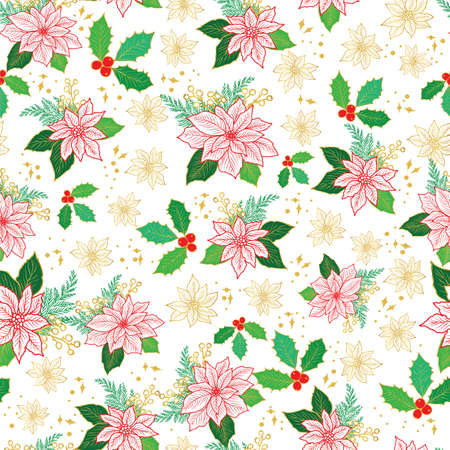 Seamless Christmas pattern with red, gold poinsettia, holly, mistletoe and berries on white background design