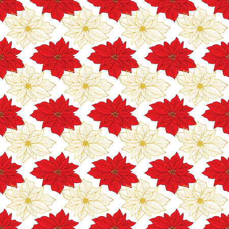 Seamless Christmas pattern with gold, red poinsettia on the white background design