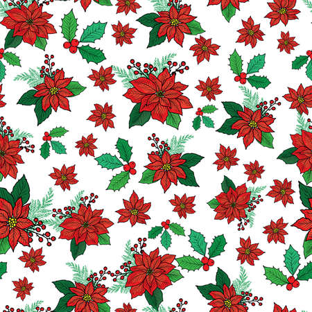Seamless Christmas pattern with red poinsettia, holly, mistletoe and berries on white background design