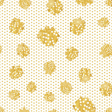 Golden Christmas pattern with present, gift box on the polka dot. Foil texture. Hand drawn winter design