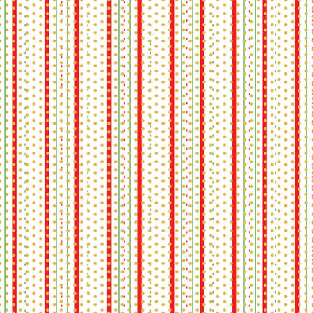 Seamless vertical stripe with gold polka dot pattern for Christmas background design.