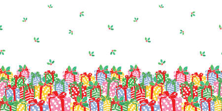 Seamless Christmas horizontal border pattern with gift box, mistletoe and berries. Hand drawn winter design