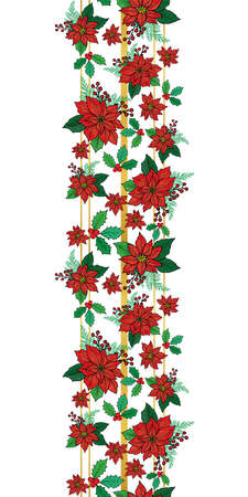 Seamless Christmas vertical border pattern with red poinsettia, holly, mistletoe and berries on the gold stripe background design