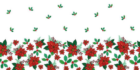 Seamless Christmas horizontal border pattern with red poinsettia, holly, mistletoe and berries on white background design Illustration