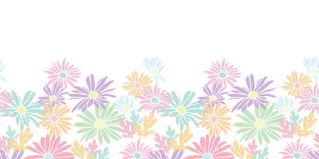 Abstract flowers hand drawn chamomile blossom sketch drawing horizontal border seamless pattern design