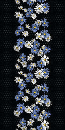 Abstract flowers hand drawn chamomile blossom seamless vertical border pattern on dot textured black background design.