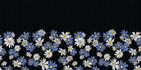 Abstract flowers hand drawn chamomile blossom seamless horizontal border pattern on dot textured black background design.