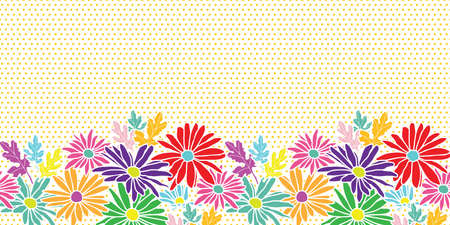 Abstract flowers hand drawn chamomile blossom on polka dot background horizontal border seamless pattern design