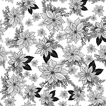Seamless Christmas line art pattern with poinsettia, holly, berries.