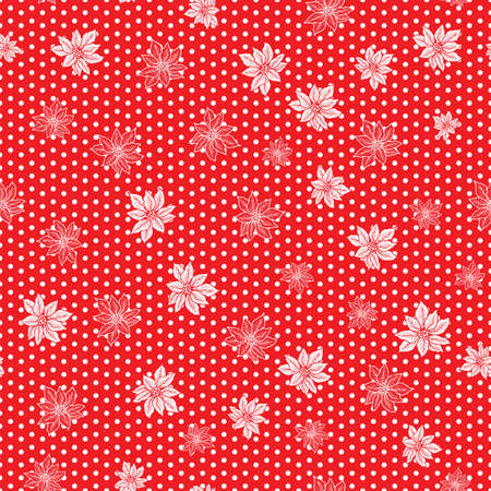 Seamless Christmas pattern with red and outline poinsettia with polka dot on red background design