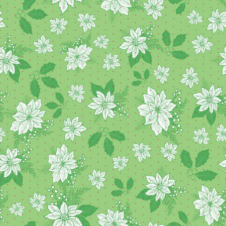 Seamless Christmas pattern with poinsettia, holly, mistletoe and berries with polka dot background design