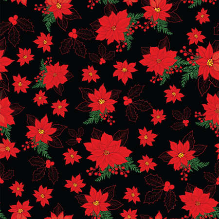 Seamless Christmas pattern with red poinsettia, holly, mistletoe and berries on black background design Illustration