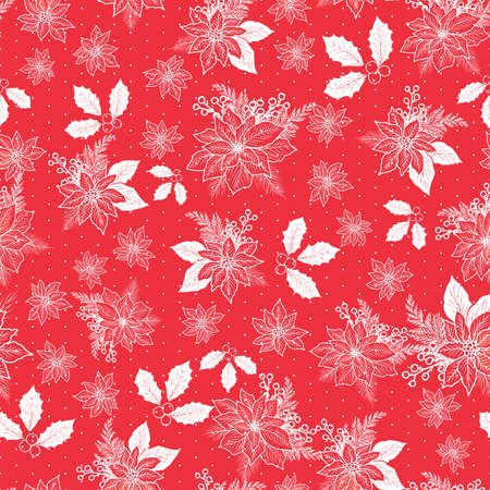 Seamless Christmas pattern with poinsettia, holly, mistletoe and berries on red background with polka dot design