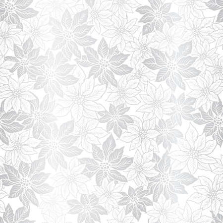 Seamless Christmas pattern with poinsettia on silver background design