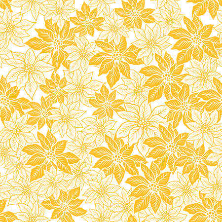 Seamless Christmas pattern with yellow and outline poinsettia design