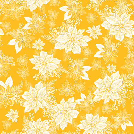 Seamless Christmas pattern with poinsettia, holly, berries on yellow background design