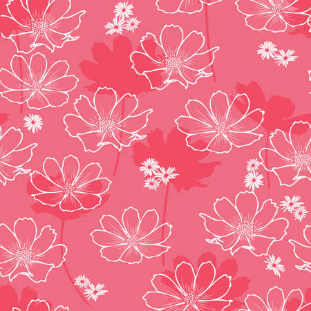 Floral seamless pattern with cosmos flower. White outline flowers on coral background design.