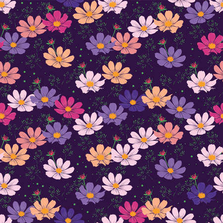 Floral seamless pattern with cosmos flower. ditsy pinkish flowers on purple background design. Illustration