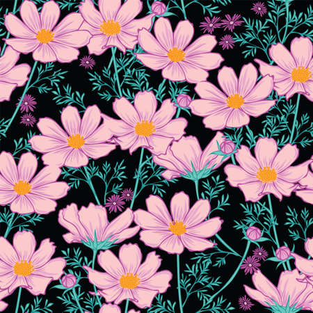 Floral seamless pattern with cosmos flower. purple flowers on black background design.