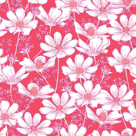 Floral seamless pattern with cosmos flower. white flowers on coral background design.