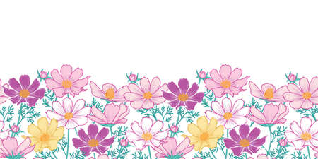 Floral seamless pattern with cosmos flower.Horizontal Border.hand drawing flower on white background design. Illustration