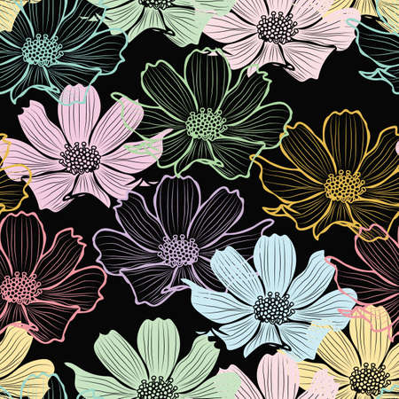Floral seamless pattern with cosmos flower. pastel outline flowers on black background design.