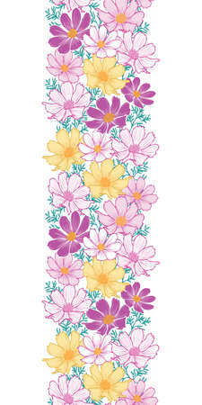 Floral seamless pattern with cosmos flower. vertical Border.hand drawing flower on white background design.
