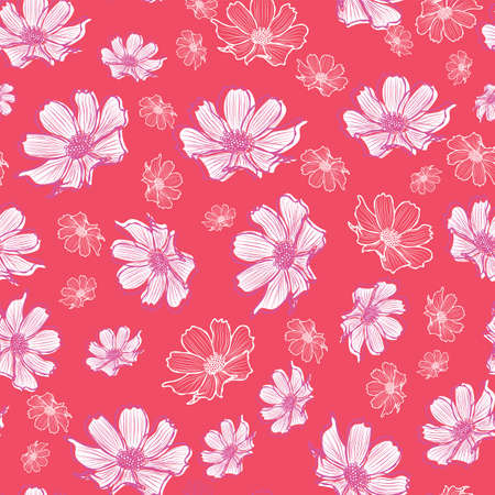 Floral seamless pattern with cosmos flower. White flowers with outlines on coral background design.
