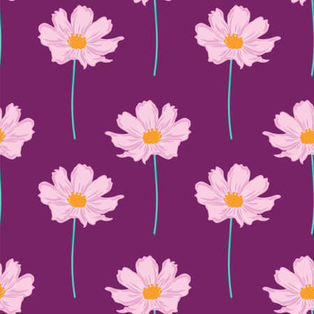 Floral seamless pattern with cosmos flower. hand drawing flowers on purple background design.
