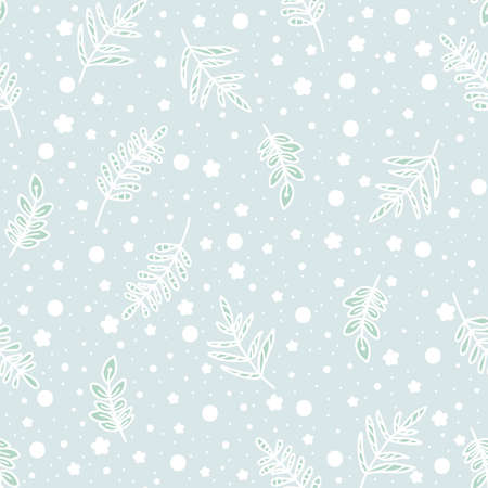 Pastel doodle seamless pattern of hand drawn branch with cute leaves background design