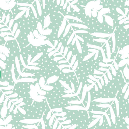Pastel doodle seamless pattern of hand drawn branch silhouette with leaves on dotted background design