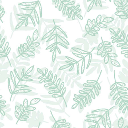 Pastel doodle seamless pattern of hand drawn branch with cute leaves vector background design