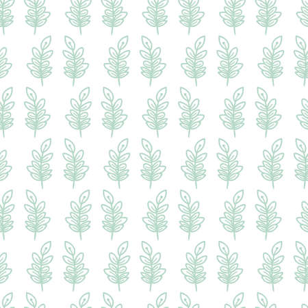 Pastel doodle vertical green branch with leaves cute seamless pattern background design