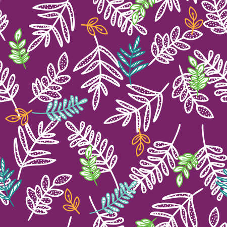 Doodle branch with leaves seamless pattern of hand drawn purple background design Illustration