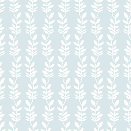 Pastel vertical striped seamless pattern of hand drawn branch with leaves background design