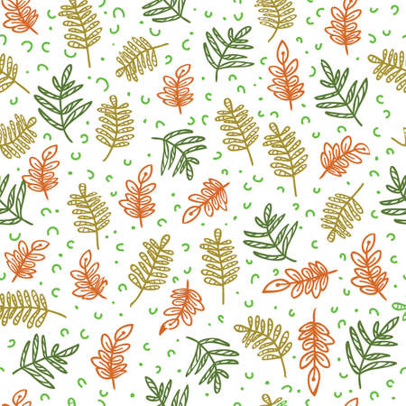 Doodle branch with leaves seamless pattern of hand drawn white background design