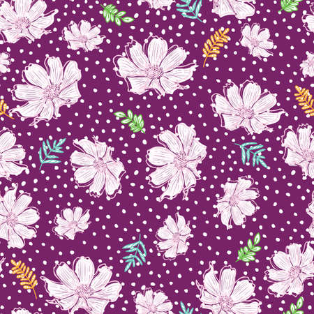 Doodle flower, branch, leaves seamless pattern of hand drawn dotted purple background design