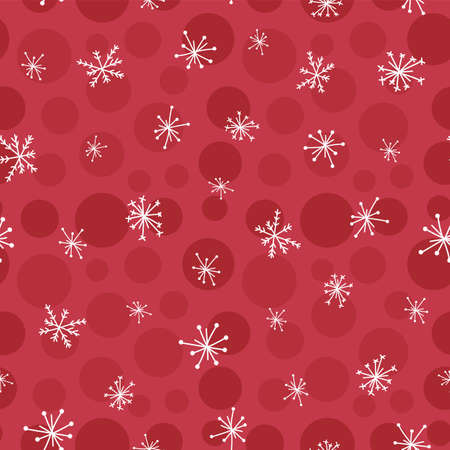 Hand drawn seamless pattern white snowflakes on red dot background, Christmas Winter background.