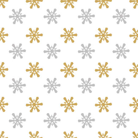 seamless pattern gold, silver snowflakes on white background, Christmas and Winter background