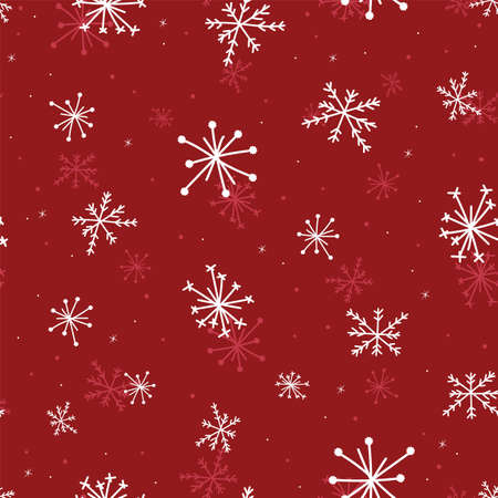 Hand drawn seamless pattern white blurred snowflakes on red background, Christmas Winter background.