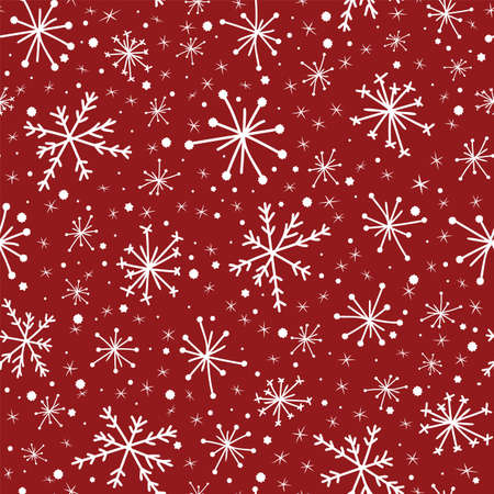Hand drawn seamless pattern white snowflakes on red background, Christmas Winter background.